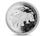 Chad 1000 Francs Hippopotamus with Baby Silver 2015
