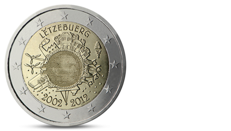 Luxembourg 2 Euro Ten Years of the Euro 2012 UNC