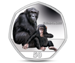 Gibraltar 50 Pence Chimpanzee Coloured 2018