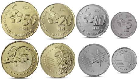 Malaysia Currency 4 Coins Set 2014 UNC
