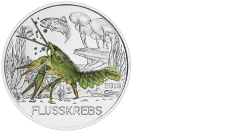 Austria 3 Euro Colourful Creatures Fauna Crayfish 2019