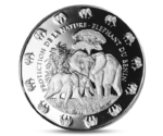 Benin 1000 FCA Elephant with Baby Silver 2016