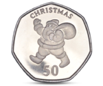 Gibraltar 50 pence Christmas - Santa Claus with a sack