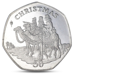 Gibraltar 50 pence Christmas - Three wise mans on a camel back