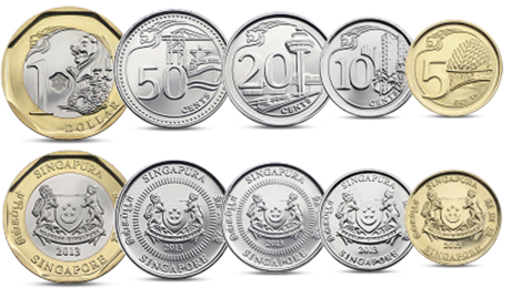 Singapore Currency Set 5 Coins 2013 UNC