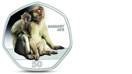 Gibraltar 50 Pence Monkey Barbary Ape Coloured 2018